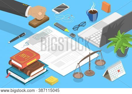 Notary Service, Legal Advice. 3d Isometric Flat Vector Conceptual Illustration.