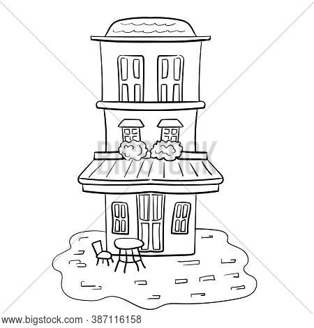 The Facade Of The Building. Residential Or Non-residential Premises. A Multi-storey Building. Vector
