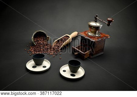 Turkish coffee set including coffee, Turkish delight and coffee pot