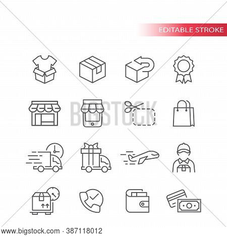 E-commerce Thin Line Vector Icon Set. E Commerce, Online Shopping Outline Icons, Editable Stroke.