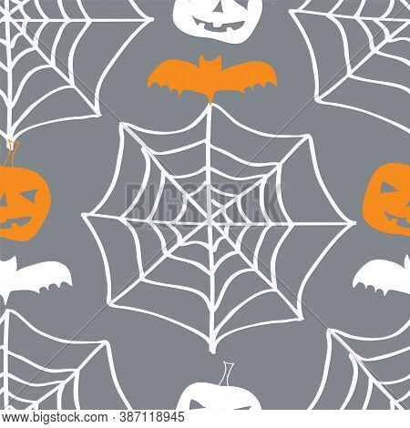 Vector Halloween Decent Elegant Pattern, White And Oragne Pumkins And Bat On Grey Background. White