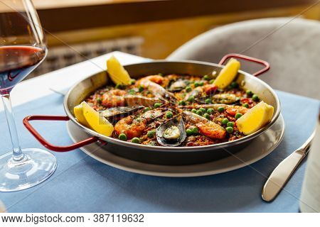 Spanish National Rice Dish Paella With Seafood In A Pan
