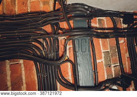 Brick Wall With Electrical Conduit Pvc Conduit.