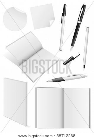 Set of blank mock-ups of pens and a books.