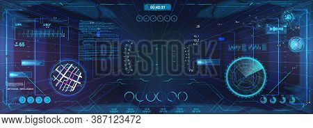 Virtual Cyberspace For Game With Hud And Gui Interface Graphic Design. Sci-fi Virtual Reality View F
