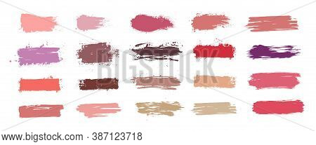 Brushstroke Swatch. Makeup Paint Strokes With Fashion 2020 Colors, Collection Patches And Smudge Eff