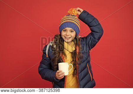 Happy Child Enjoy Drinking Tea Or Coffee. Little Girl Hold Drinking Mug. Healthy Drinking Habits. Dr