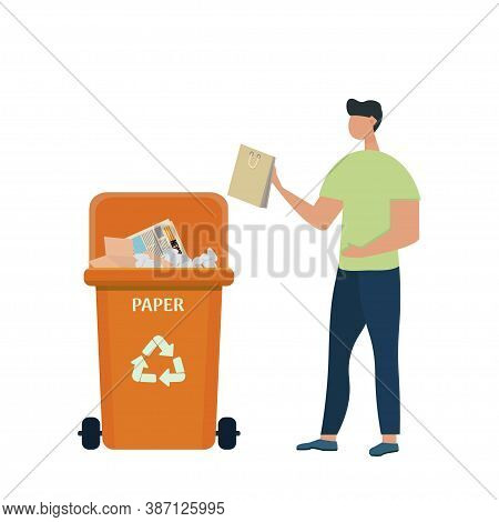 Cute Character Man Putting Rubbish In Trash Bin, Dumpster Or Container With Paper Waste. Sorting And