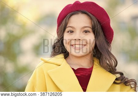 Little Parisian. Fancy Girl. Kid Little Cute Girl Smiling Face Posing Hat Defocused Background. Fash