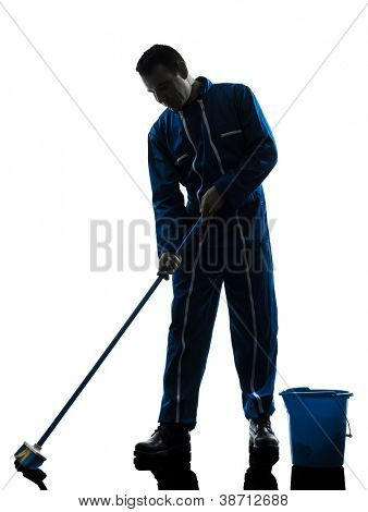 one caucasian janitor cleaner cleaning silhouette in studio on white background