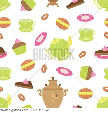 Vector Seamless Pattern With Funny Objects Tea Pot, Samovar, Cups And Sweats For Holiday Tea Drinkin