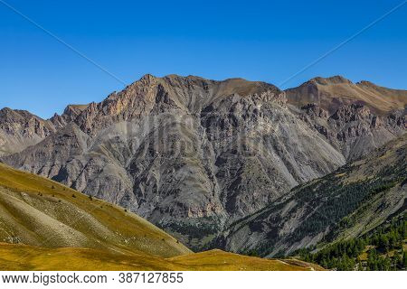 Impressive High Altitude Landscape Located In The Southern French Alps With Massif Des Cerces As It