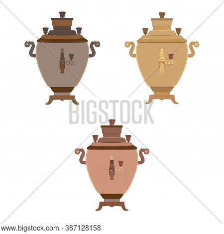 Vector Illustration Wtih Samovars Of Different Colors On A White Background