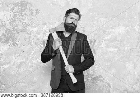 Grooming Cutthroat. Bearded Man Hold Sharp Axe. Beard Grooming. Mens Grooming Salon. Hipster In Brut