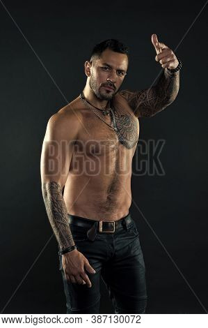 Hey You. Handsome Fit Tattooed Man Wear Jeans Pointing Forward. Man Handsome Shirtless Muscular With