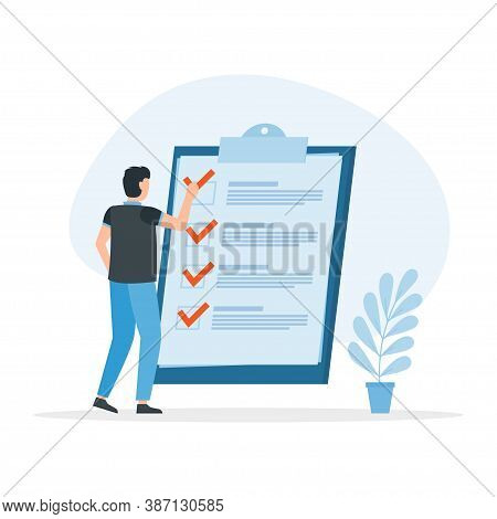 Check List With Tick Mark, Man With Questionnaire. Successful Completion Of Business Tasks. Vector I
