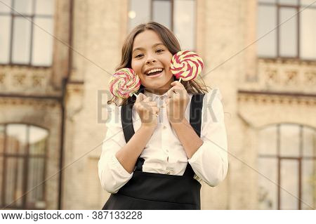 Crazy About Sweets. Happy Kid With Candy. School Nutrition. Calories And Energy. Both Mine. Sugar Ad