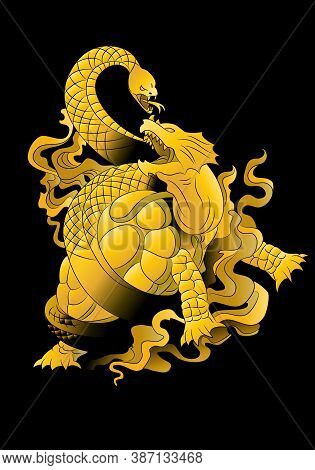 Illustration Of A Golden Turtle Dragon Oriental Mystical Beast Flying Over Black Background