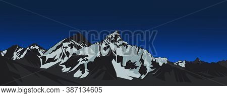 Everest Mountain Landscape Vector Illustration With Ultra Wide Size