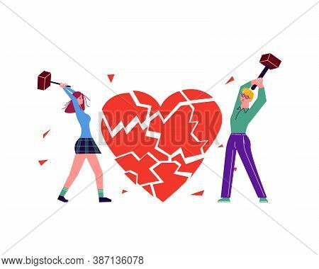 Metaphor Of Betrayal, Unhappy Love And Broken Heart. People Break The Heart Into Splinters By Hammer