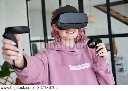 Woman Hipster Gamer Pink Hair Wear Vr Headset Goggles Holds Controllers Plays Video Game Simulator I