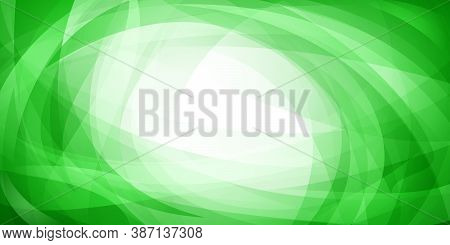 Abstract Background Of Intersecting Curves And Bent Translucent Shapes In Green Colors