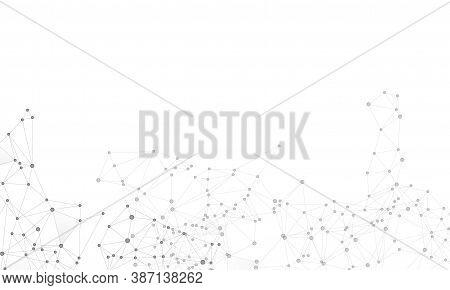 Big Data Cloud Scientific Concept. Network Nodes Greyscale Plexus Background. Information Technology