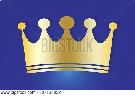 Crown Of Gold. The Sign Of The King And Queen. Power Symbol. Monarch Hat. Vector Illustration.