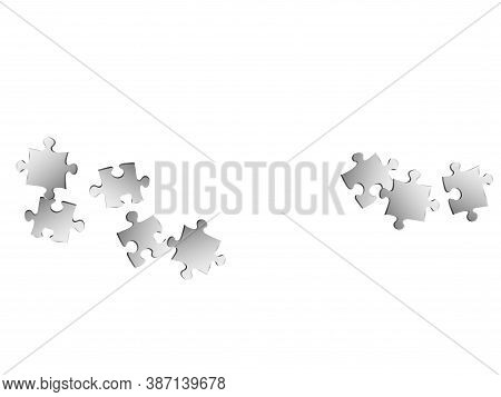 Abstract Conundrum Jigsaw Puzzle Metallic Silver Pieces Vector Background. Scatter Of Puzzle Pieces