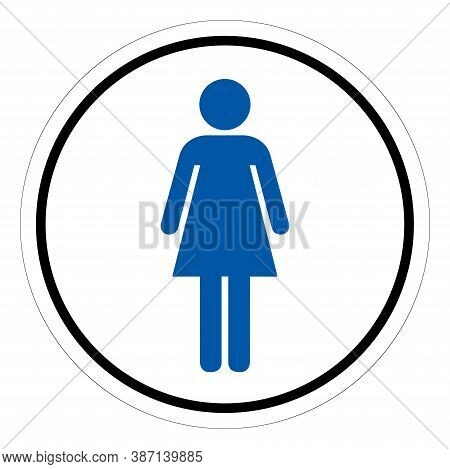 Women's Restroom Symbol Sign, Vector Illustration, Isolate On White Background Label. Eps10