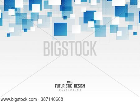 Abstract Blue Square Pattern Design Of Technology Pattern Artwork Background. Use For Ad, Poster, Ar