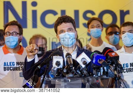 Bucharest, Romania - September 27, 2020: Nicusor Dan, The Candidate Helped By Pnl And Usr-plus, Addr