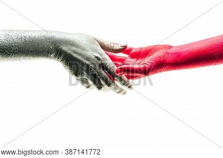 Hand By Hand. Different Color Human Hands As Different Emotions. Shake Hands. Creative Business, Coo