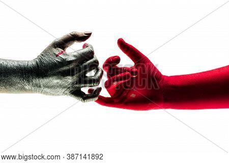 Careful Tender Touch Of Hands, Concept Of Reconciliation. Difficulties In Relationships, Argue Betwe
