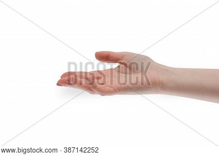 Give Take Hand. Womans Hand Is Open And Gives Or Takes Something. Human People Hand Sign Isolated On