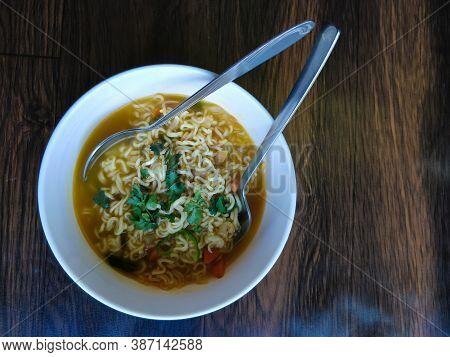 Fresh Veg Noodles Served On A Table At Bhutan.