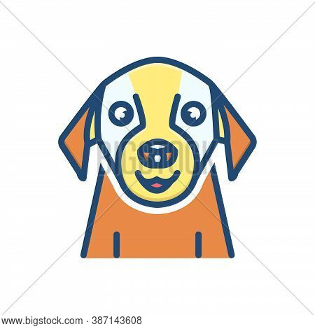 Color Illustration Icon For Pet Tame Domestic Home-animal Dog Faithful Animal