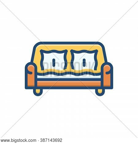 Color Illustration Icon For Sofa Couch Divan Settee Comfortable Furniture