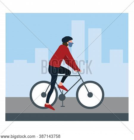 A Boy Or Man Riding The Bicycle And Wearing Masker At Street - Flat Illustrations Isolated On White