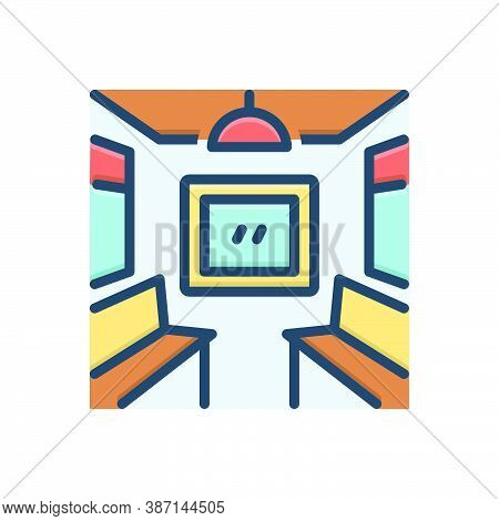 Color Illustration Icon For Inside-coach Inside Coach Seat Travelling Train Bogie Container Railway