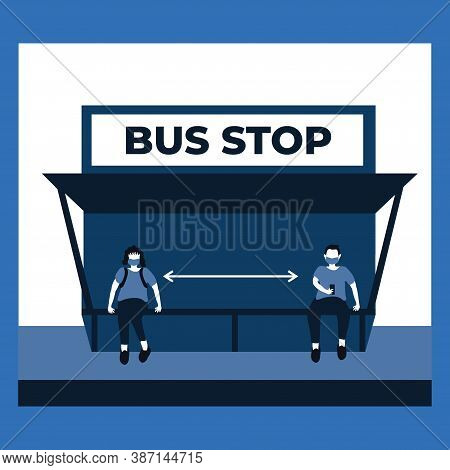 A Man And Woman Doing Social Distancing And Wear Masker At The Bus Stop - Two Tone Flat Illustration