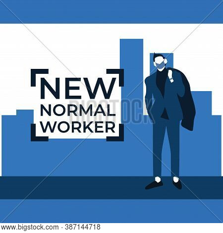 New Normal Worker Wearing Masker - Two Tone Flat Illustrations