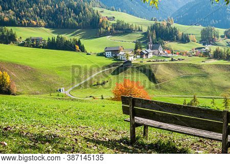 The Bench With Scenic View At The Village Of Santa Magdalena In Northern Italy On The Slopes Of The