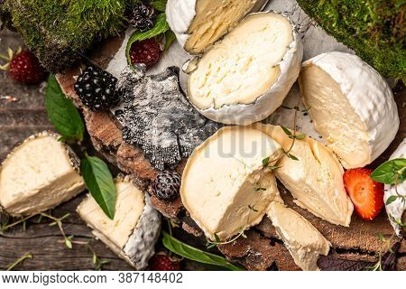 Soft French Cheese Of Camembert And Other Types, With Ash, Goat Cheeses, Home Made Cheese Farmer. Th