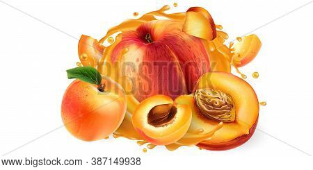 Fresh Peaches And Apricots And A Splash Of Fruit Juice On A White Background. Realistic Vector Illus