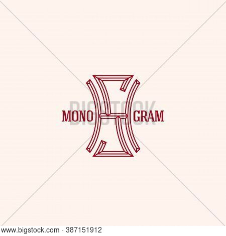 Geometric Beveled Vintage Monogram Letters H And S Design Template In Linear Style. Vector Illustrat