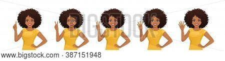 Smiling Beatiful Woman With Afro Hairstyle Pointing Up. One, Two, Three, Four, Five Fingers Isolated