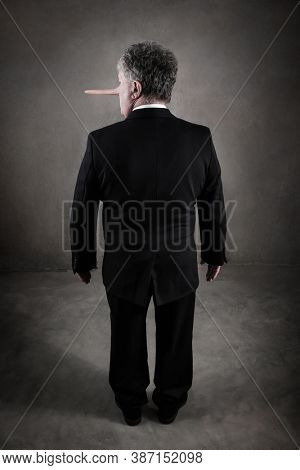 Back view of a dishonest puppet business man with a long nose, liar concept