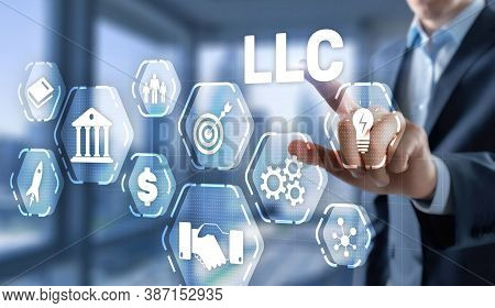Limited Liability Company Concept. Businessman Touched Llc On Virtual Screen.