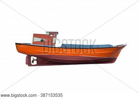 Image Of Wooden Fishing Boat Isolated On A White Background